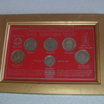 Britain's changing  Coinage The British Bob 5p mounted in frame Cheap for sale )